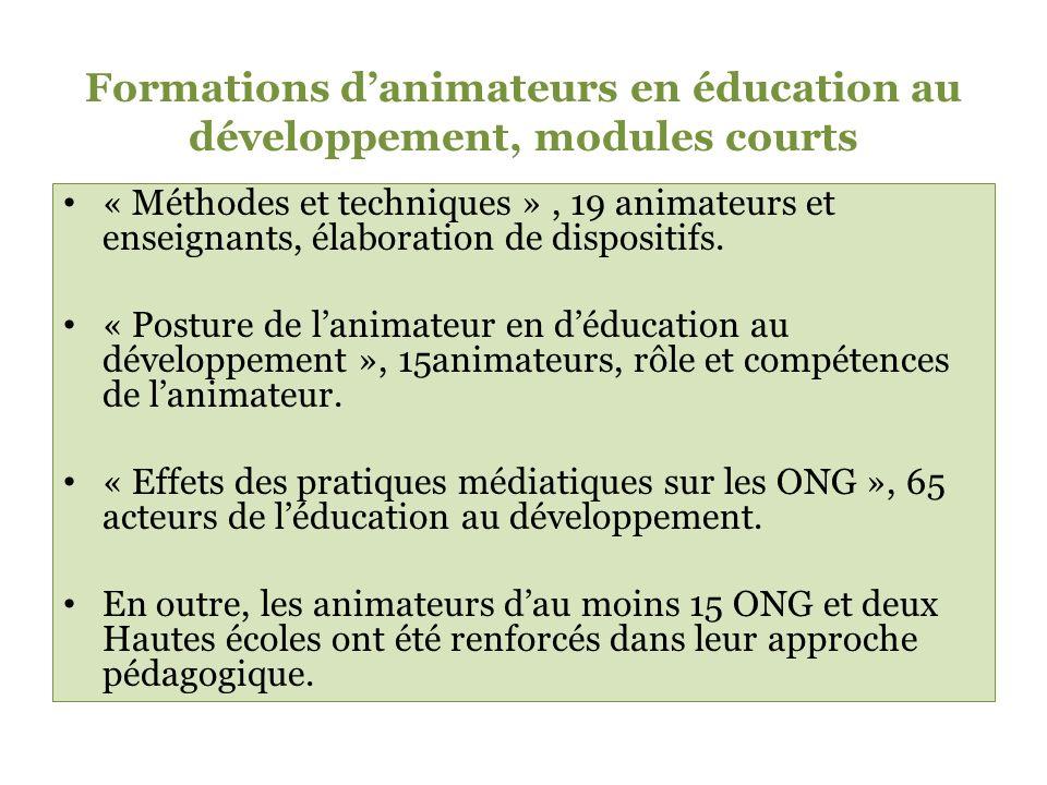 Formations danimateurs en éducation au développement, modules courts « Méthodes et techniques », 19 animateurs et enseignants, élaboration de dispositifs.