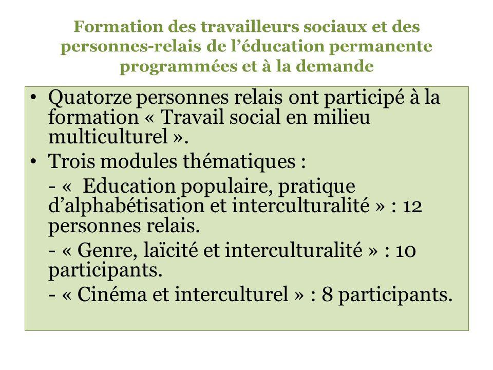 Formation des travailleurs sociaux et des personnes-relais de léducation permanente programmées et à la demande Quatorze personnes relais ont participé à la formation « Travail social en milieu multiculturel ».