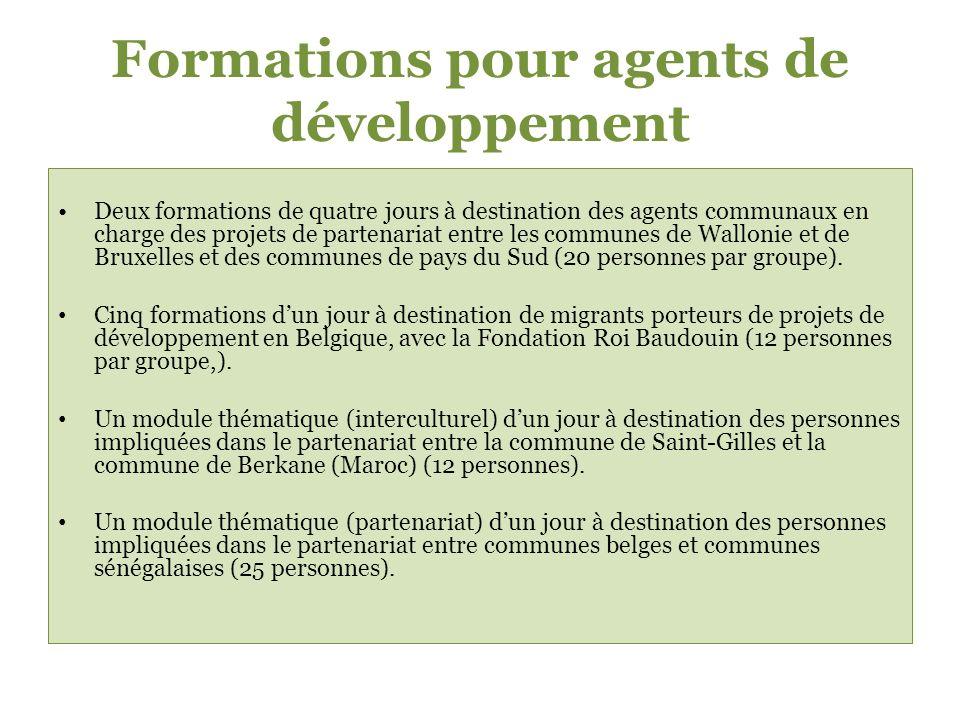 Formations pour agents de développement Deux formations de quatre jours à destination des agents communaux en charge des projets de partenariat entre les communes de Wallonie et de Bruxelles et des communes de pays du Sud (20 personnes par groupe).