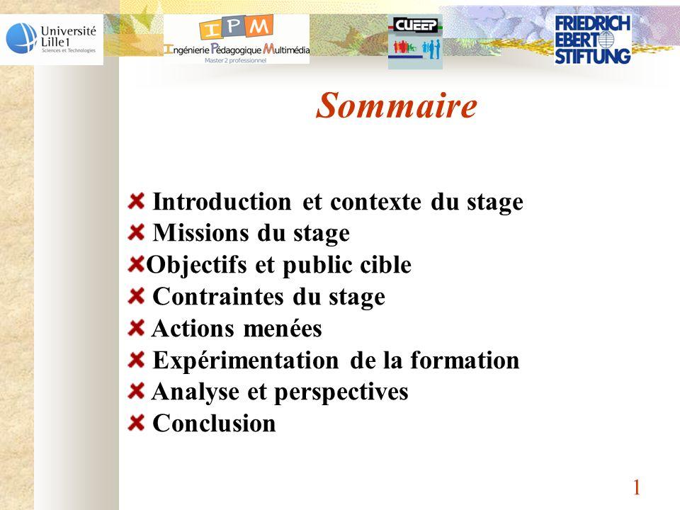 Sommaire Introduction et contexte du stage Missions du stage Objectifs et public cible Contraintes du stage Actions menées Expérimentation de la forma