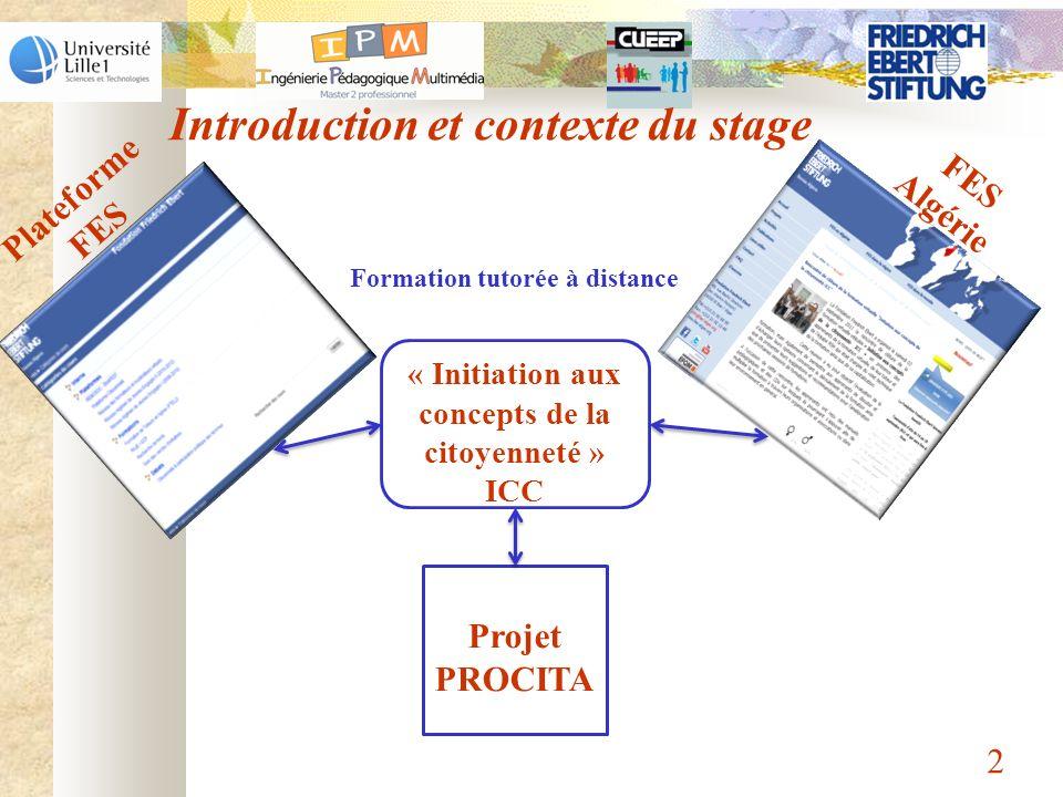 Introduction et contexte du stage 2 Projet PROCITA « Initiation aux concepts de la citoyenneté » ICC Plateforme FES FES Algérie Formation tutorée à di