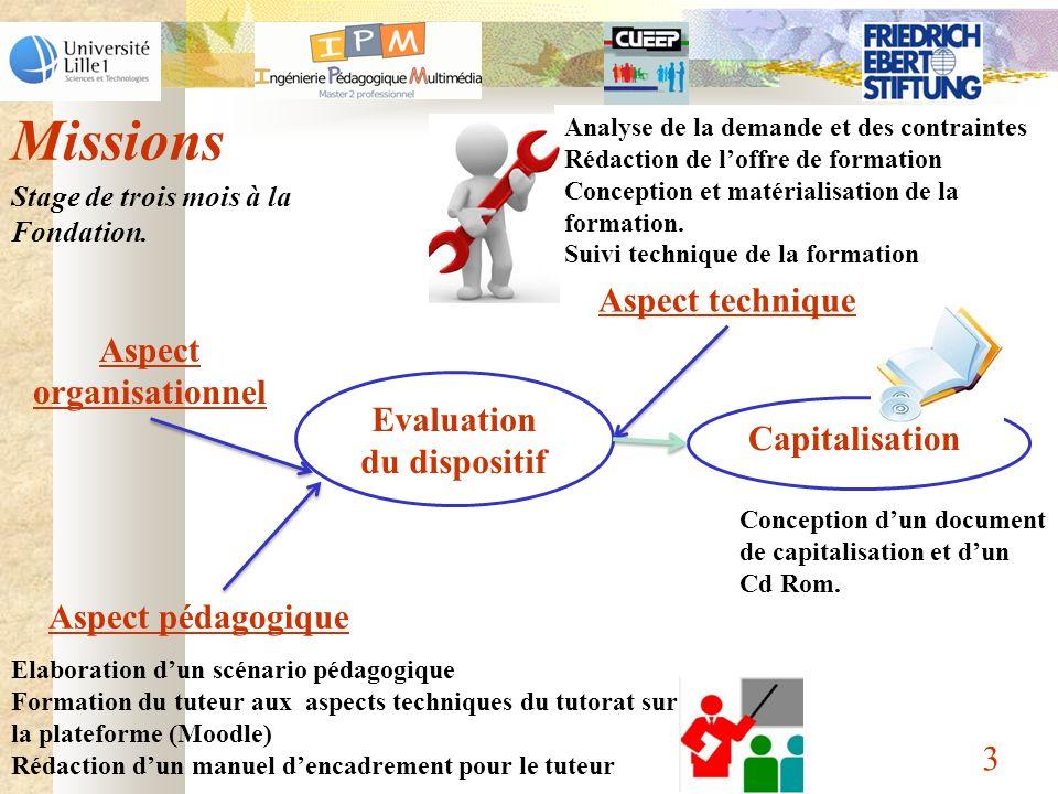 Missions 3 Analyse de la demande et des contraintes Rédaction de loffre de formation Conception et matérialisation de la formation. Suivi technique de