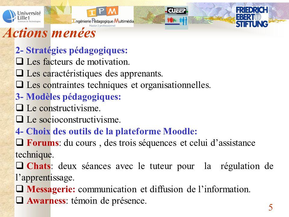 5 2- Stratégies pédagogiques: Les facteurs de motivation. Les caractéristiques des apprenants. Les contraintes techniques et organisationnelles. 3- Mo