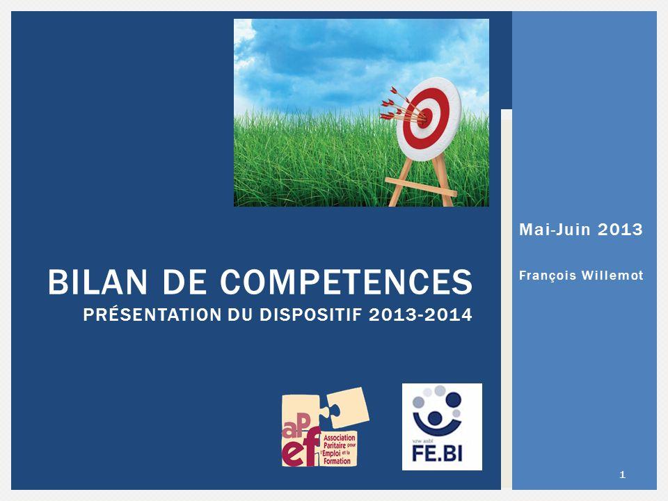 BILAN DE COMPETENCES PRÉSENTATION DU DISPOSITIF 2013-2014 1 Mai-Juin 2013 François Willemot