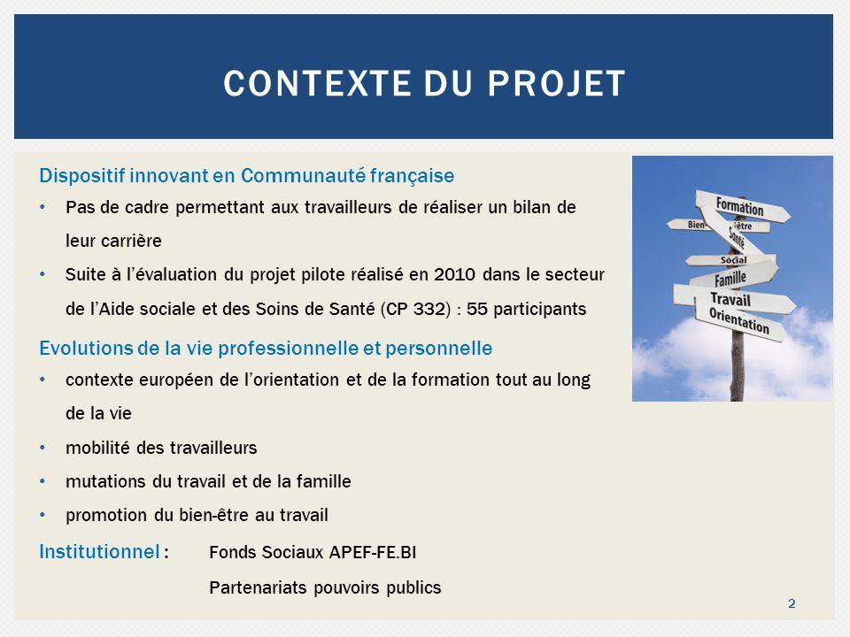 2 CONTEXTE DU PROJET Dispositif innovant en Communauté française Pas de cadre permettant aux travailleurs de réaliser un bilan de leur carrière Suite