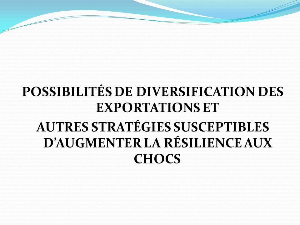 POSSIBILITÉS DE DIVERSIFICATION DES EXPORTATIONS ET AUTRES STRATÉGIES SUSCEPTIBLES DAUGMENTER LA RÉSILIENCE AUX CHOCS