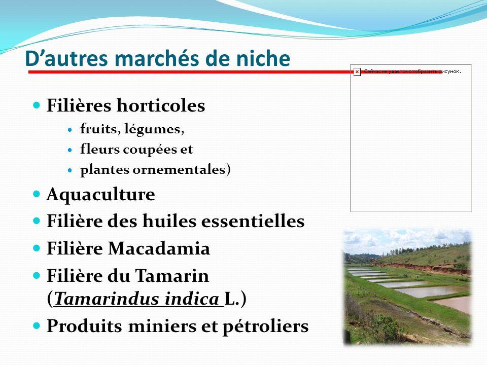 Dautres marchés de niche Filières horticoles fruits, légumes, fleurs coupées et plantes ornementales) Aquaculture Filière des huiles essentielles Fili