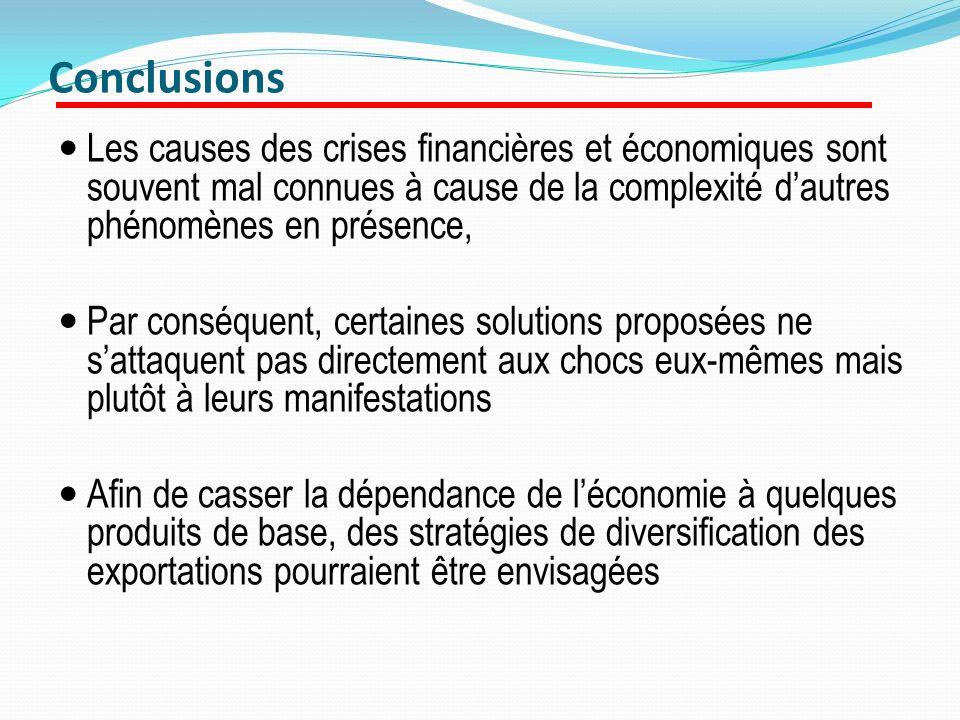 Conclusions Les causes des crises financières et économiques sont souvent mal connues à cause de la complexité dautres phénomènes en présence, Par con