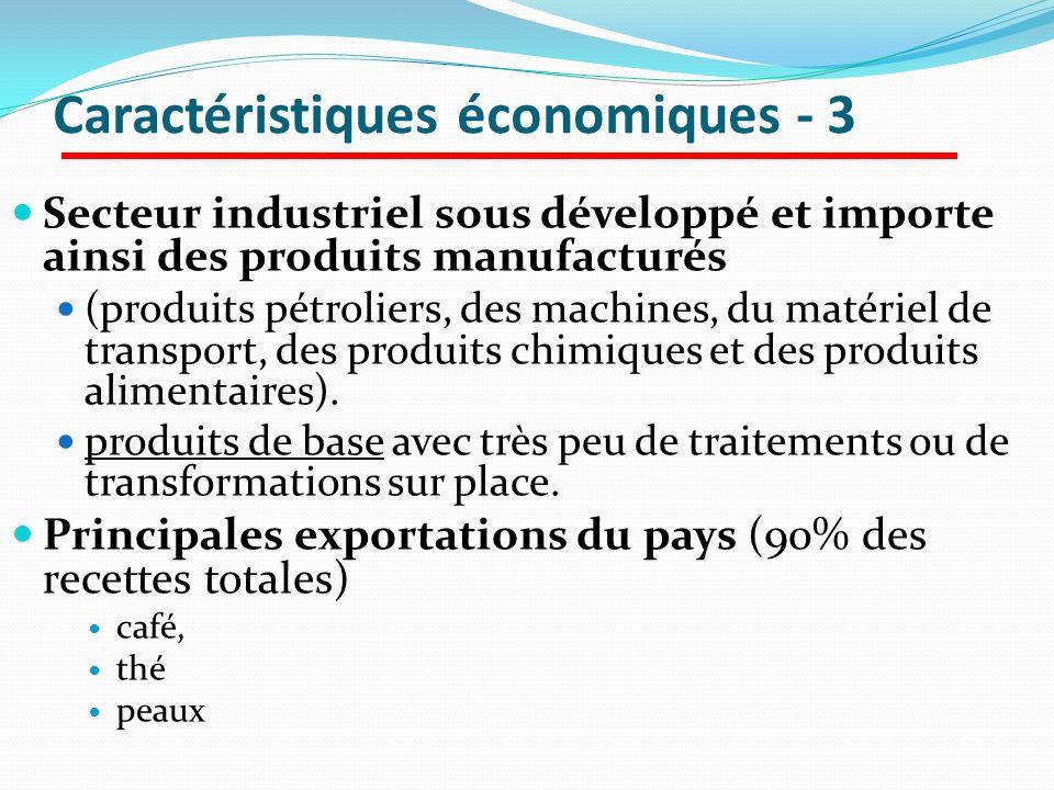 Caractéristiques économiques - 3 Secteur industriel sous développé et importe ainsi des produits manufacturés (produits pétroliers, des machines, du m