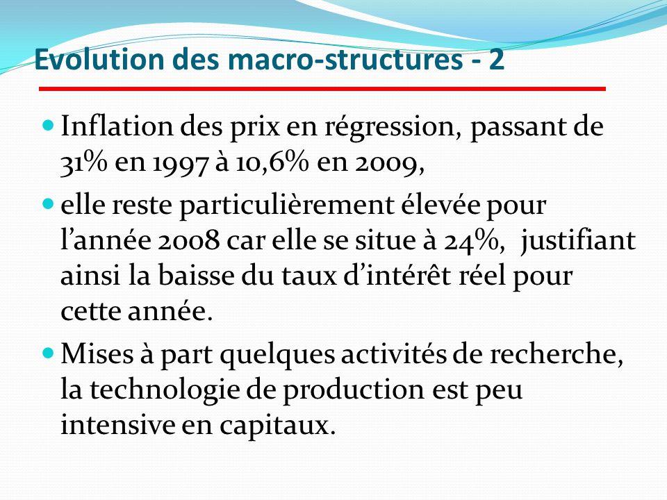 Evolution des macro-structures - 2 Inflation des prix en régression, passant de 31% en 1997 à 10,6% en 2009, elle reste particulièrement élevée pour l