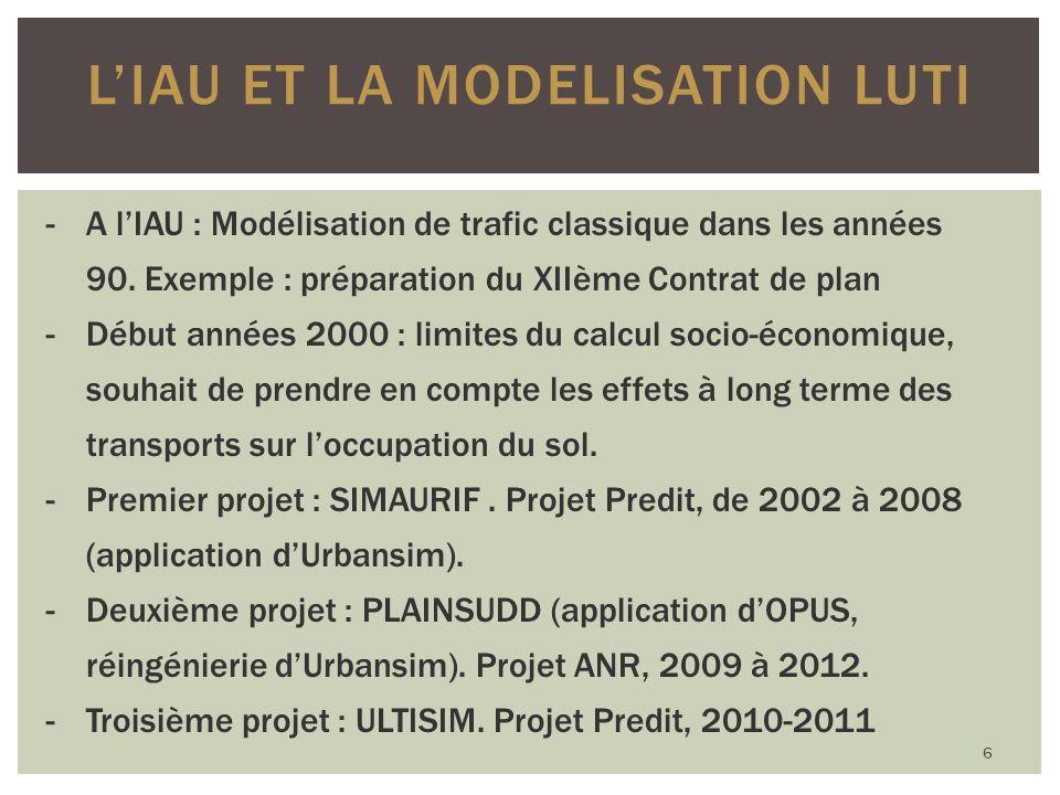 LIAU ET LA MODELISATION LUTI -A lIAU : Modélisation de trafic classique dans les années 90.