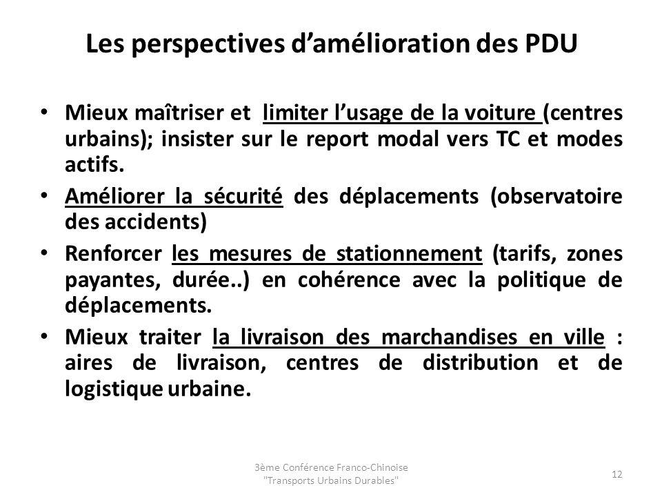 Les perspectives damélioration des PDU Mieux maîtriser et limiter lusage de la voiture (centres urbains); insister sur le report modal vers TC et modes actifs.