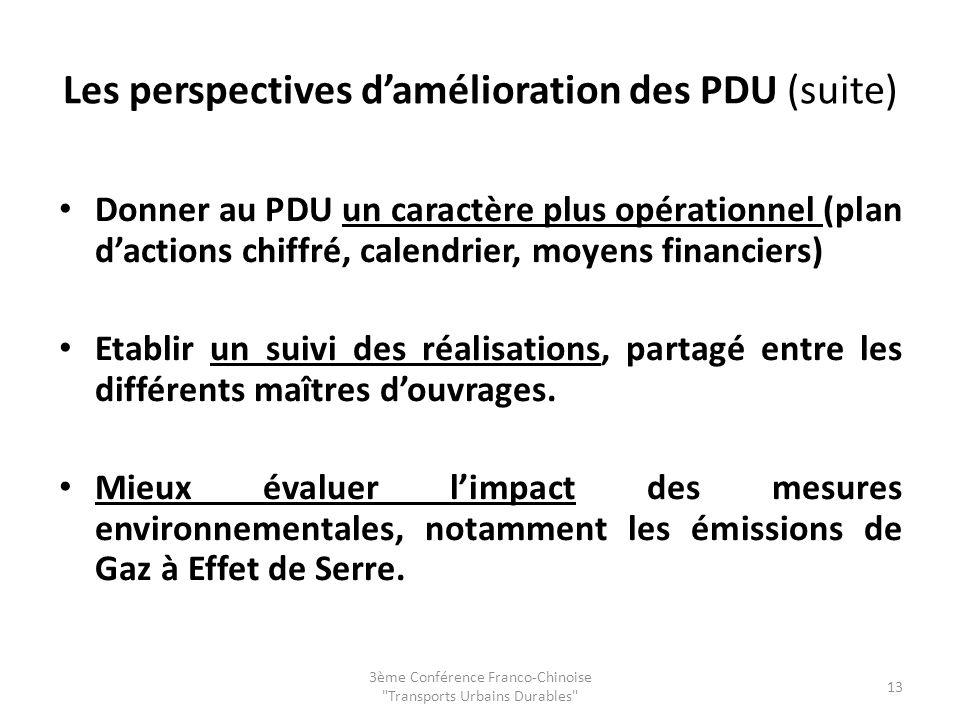 Les perspectives damélioration des PDU (suite) Donner au PDU un caractère plus opérationnel (plan dactions chiffré, calendrier, moyens financiers) Etablir un suivi des réalisations, partagé entre les différents maîtres douvrages.