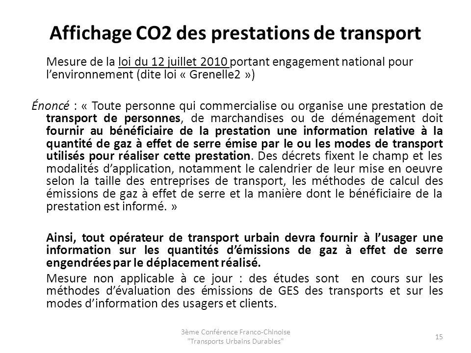 Affichage CO2 des prestations de transport Mesure de la loi du 12 juillet 2010 portant engagement national pour lenvironnement (dite loi « Grenelle2 »
