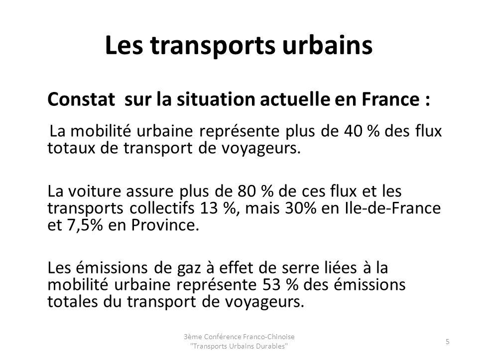 Les transports urbains Constat sur la situation actuelle en France : La mobilité urbaine représente plus de 40 % des flux totaux de transport de voyageurs.