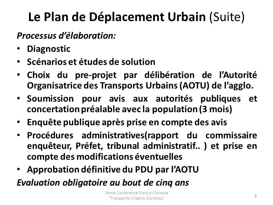 Le Plan de Déplacement Urbain (Suite) Processus délaboration: Diagnostic Scénarios et études de solution Choix du pre-projet par délibération de lAuto