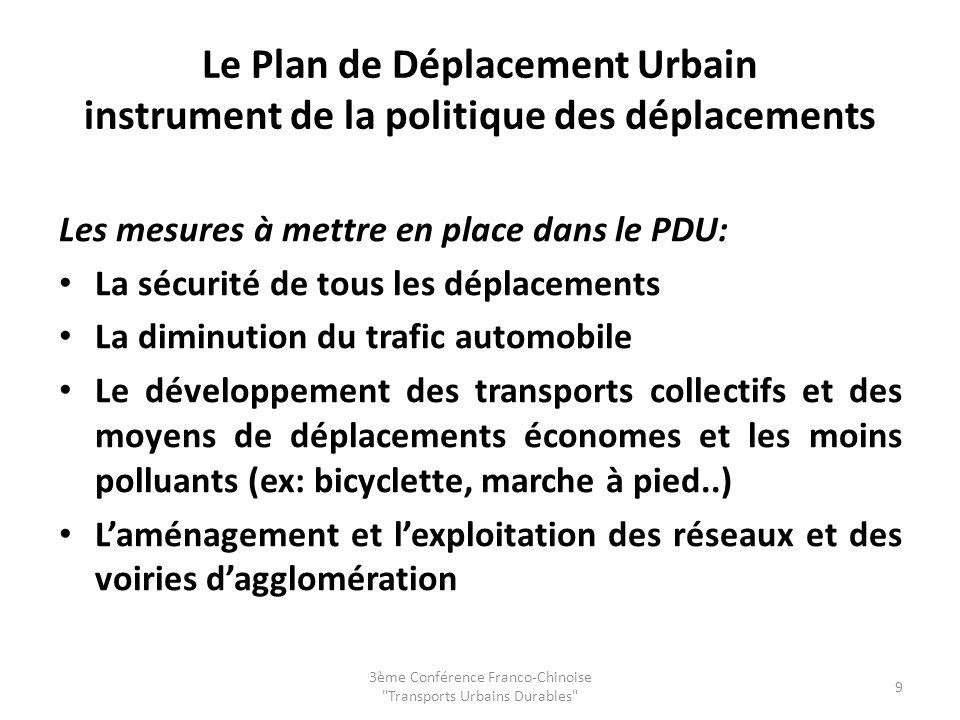 Le Plan de Déplacement Urbain instrument de la politique des déplacements Les mesures à mettre en place dans le PDU: La sécurité de tous les déplaceme