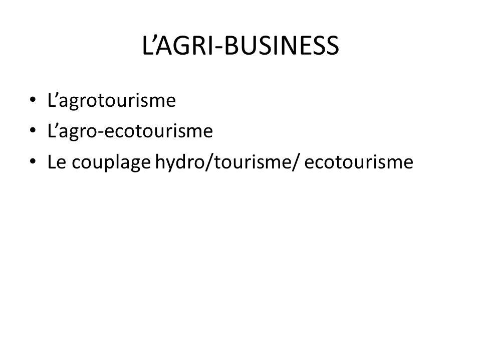 LAGRI-BUSINESS Lagrotourisme Lagro-ecotourisme Le couplage hydro/tourisme/ ecotourisme