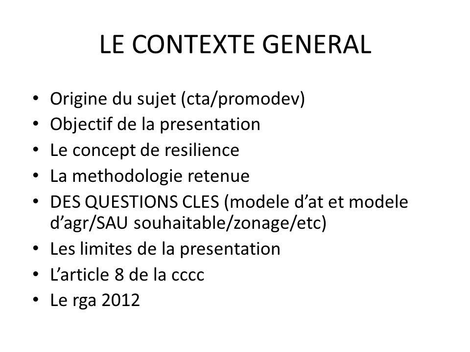 LE CONTEXTE GENERAL Origine du sujet (cta/promodev) Objectif de la presentation Le concept de resilience La methodologie retenue DES QUESTIONS CLES (m