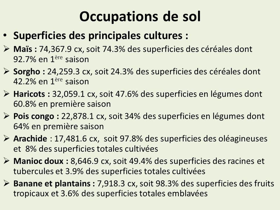 Occupations de sol Superficies des principales cultures : Maïs : 74,367.9 cx, soit 74.3% des superficies des céréales dont 92.7% en 1 ère saison Sorgh