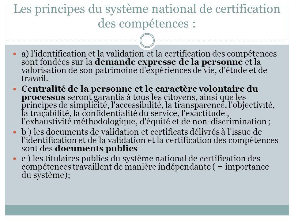 Les principes du système national de certification des compétences : a) l identification et la validation et la certification des compétences sont fondées sur la demande expresse de la personne et la valorisation de son patrimoine d expériences de vie, d étude et de travail.