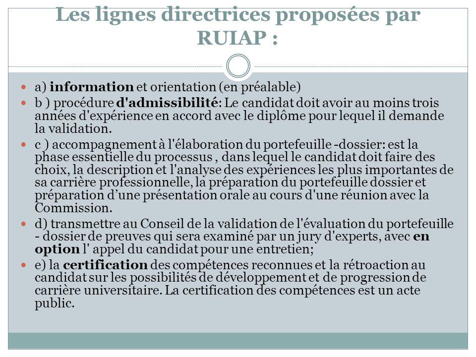 Les lignes directrices proposées par RUIAP : a) information et orientation (en préalable) b ) procédure d admissibilité: Le candidat doit avoir au moins trois années d expérience en accord avec le diplôme pour lequel il demande la validation.