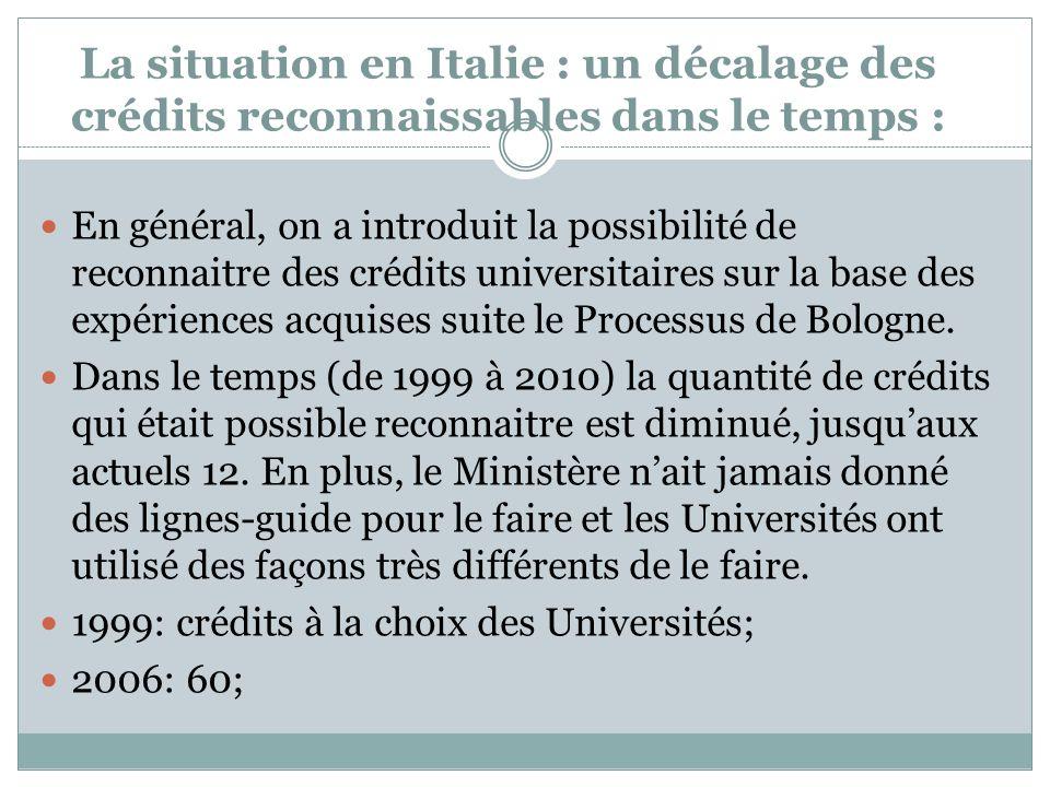 La situation en Italie : un décalage des crédits reconnaissables dans le temps : En général, on a introduit la possibilité de reconnaitre des crédits universitaires sur la base des expériences acquises suite le Processus de Bologne.