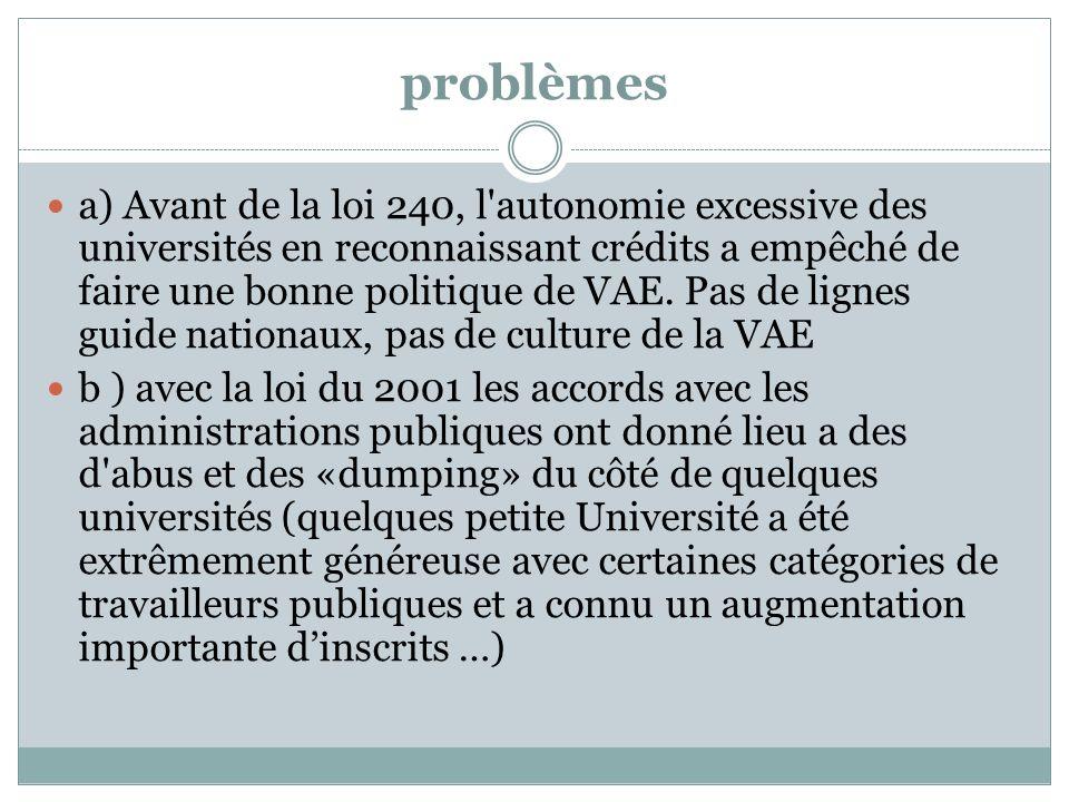 problèmes a) Avant de la loi 240, l autonomie excessive des universités en reconnaissant crédits a empêché de faire une bonne politique de VAE.