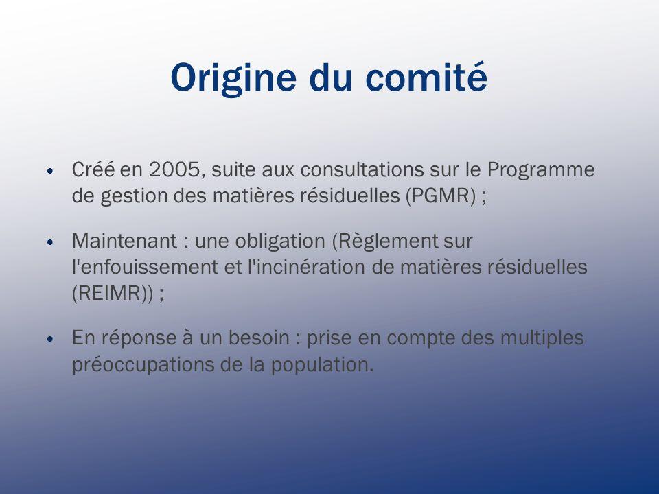 Origine du comité Créé en 2005, suite aux consultations sur le Programme de gestion des matières résiduelles (PGMR) ; Maintenant : une obligation (Règlement sur l enfouissement et l incinération de matières résiduelles (REIMR)) ; En réponse à un besoin : prise en compte des multiples préoccupations de la population.
