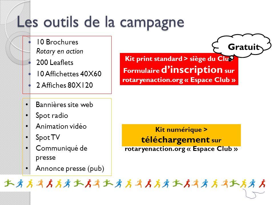 Les outils de la campagne 10 Brochures Rotary en action 200 Leaflets 10 Affichettes 40X60 2 Affiches 80X120 Kit print standard > siège du Club Formula