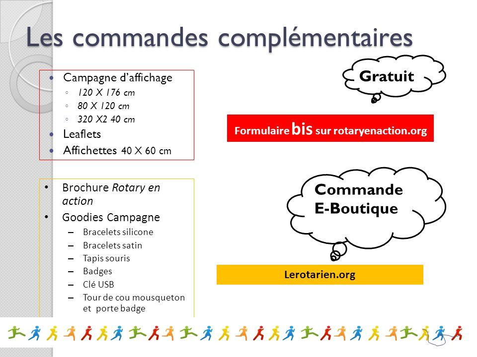 Les commandes complémentaires Campagne daffichage 120 X 176 cm 80 X 120 cm 320 X2 40 cm Leaflets Affichettes 40 X 60 cm Formulaire bis sur rotaryenact