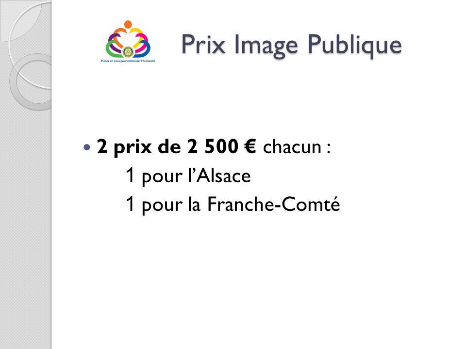 Prix Image Publique Prix Image Publique 2 prix de 2 500 chacun : 1 pour lAlsace 1 pour la Franche-Comté