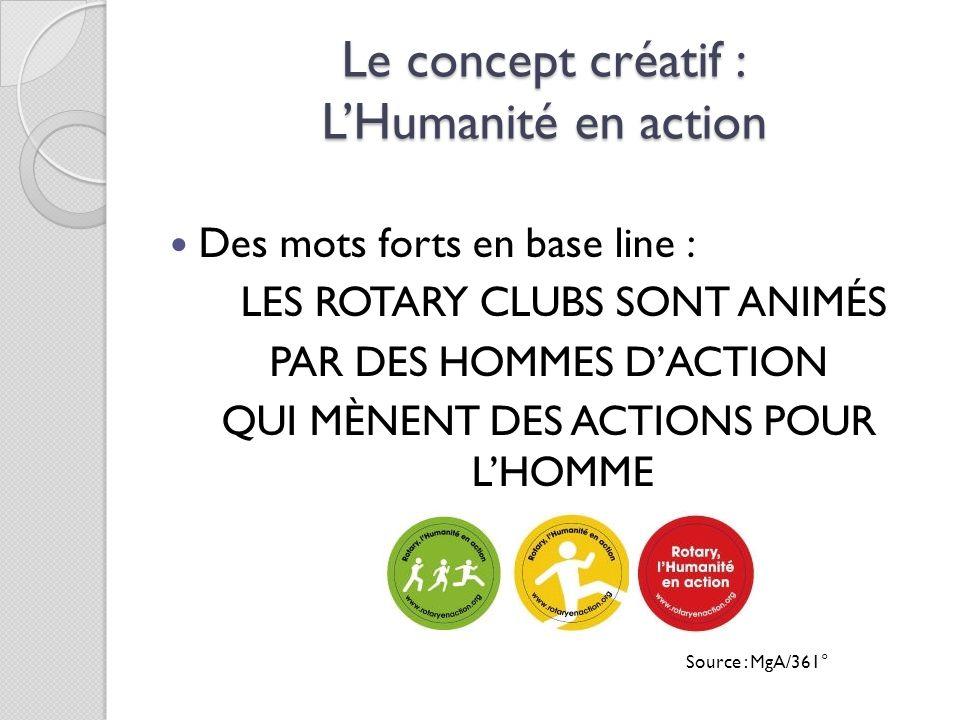 Le concept créatif : LHumanité en action Des mots forts en base line : LES ROTARY CLUBS SONT ANIMÉS PAR DES HOMMES DACTION QUI MÈNENT DES ACTIONS POUR