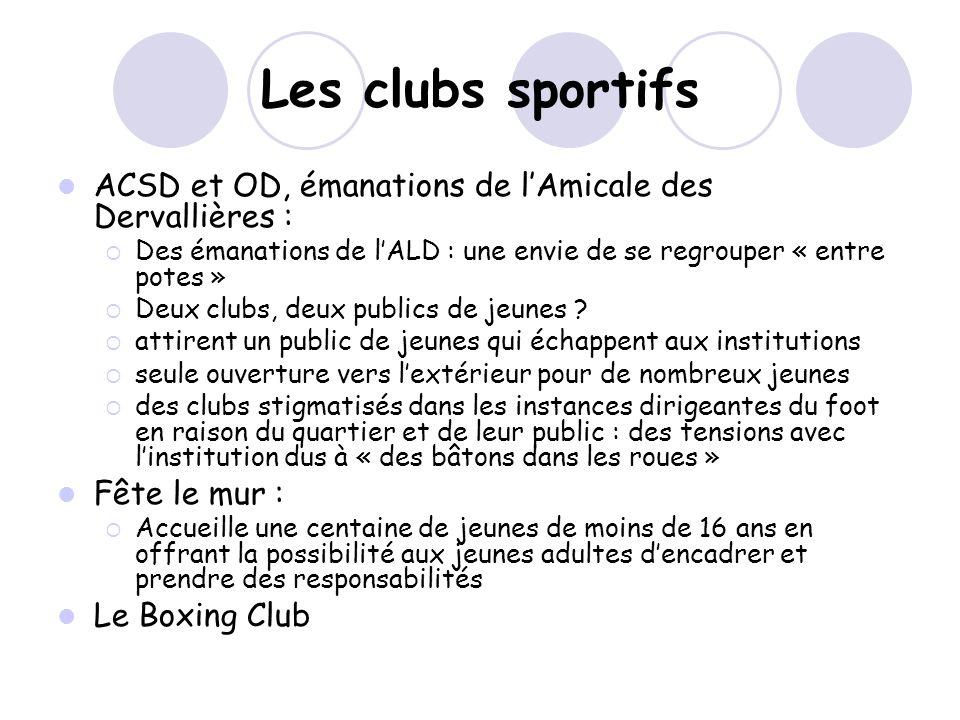 Les clubs sportifs ACSD et OD, émanations de lAmicale des Dervallières : Des émanations de lALD : une envie de se regrouper « entre potes » Deux clubs