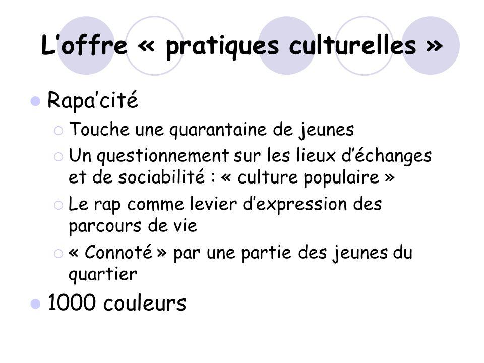 Loffre « pratiques culturelles » Rapacité Touche une quarantaine de jeunes Un questionnement sur les lieux déchanges et de sociabilité : « culture pop