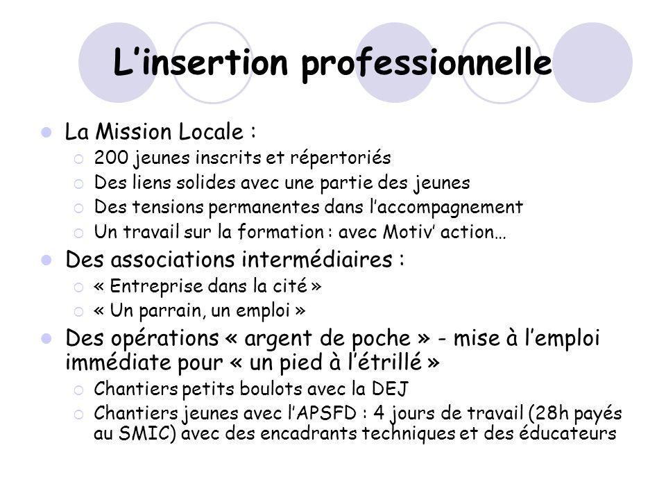 Linsertion professionnelle La Mission Locale : 200 jeunes inscrits et répertoriés Des liens solides avec une partie des jeunes Des tensions permanente