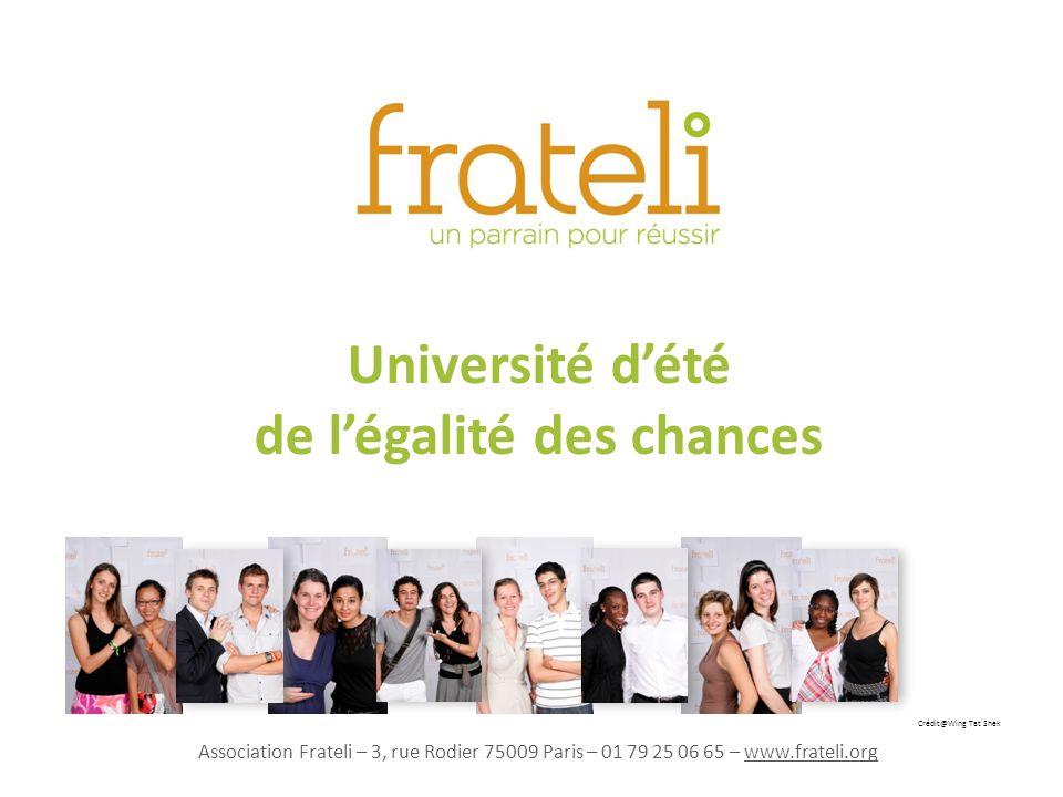 Université dété de légalité des chances Crédit@Wing Tat Shek Association Frateli – 3, rue Rodier 75009 Paris – 01 79 25 06 65 – www.frateli.org