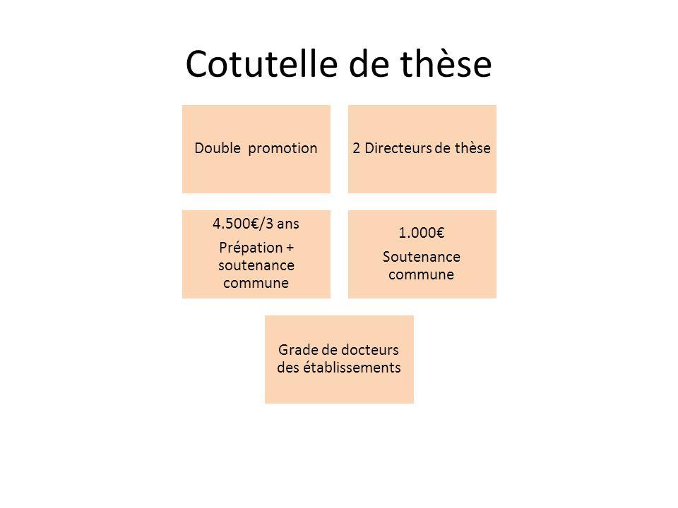Cotutelle de thèse Double promotion2 Directeurs de thèse 4.500/3 ans Prépation + soutenance commune 1.000 Soutenance commune Grade de docteurs des établissements