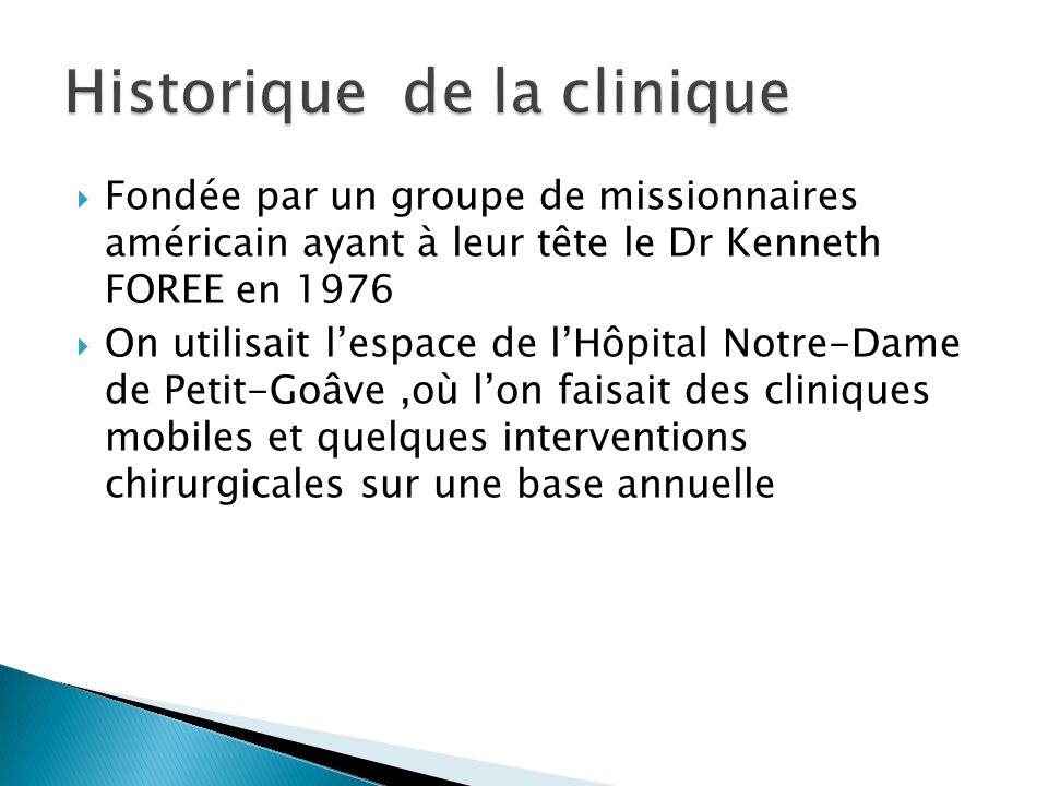 Fondée par un groupe de missionnaires américain ayant à leur tête le Dr Kenneth FOREE en 1976 On utilisait lespace de lHôpital Notre-Dame de Petit-Goâve,où lon faisait des cliniques mobiles et quelques interventions chirurgicales sur une base annuelle