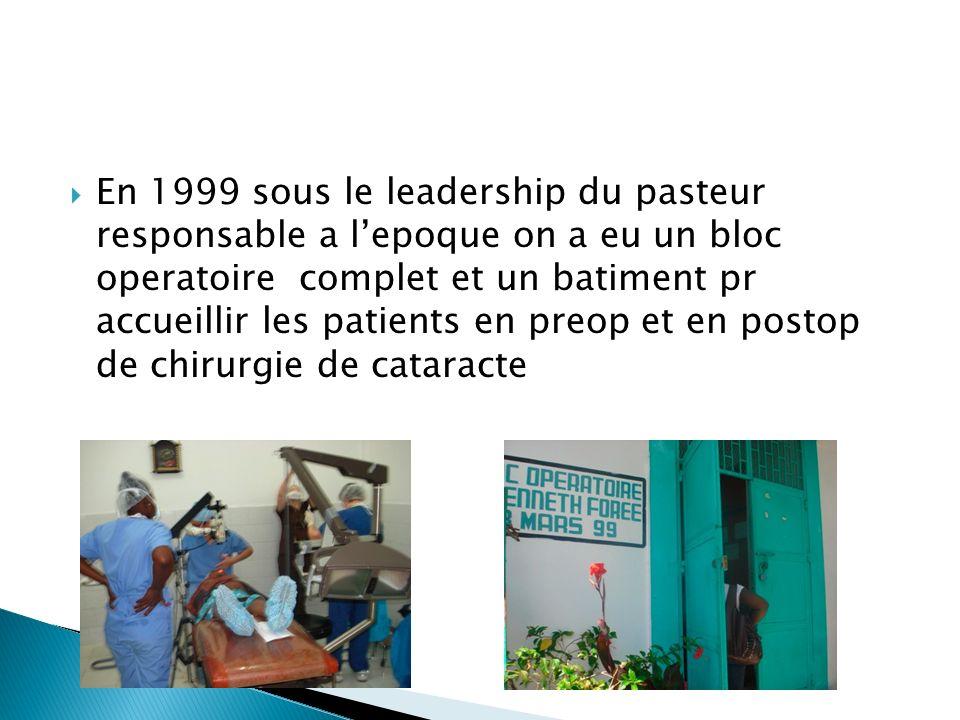 En 1999 sous le leadership du pasteur responsable a lepoque on a eu un bloc operatoire complet et un batiment pr accueillir les patients en preop et en postop de chirurgie de cataracte