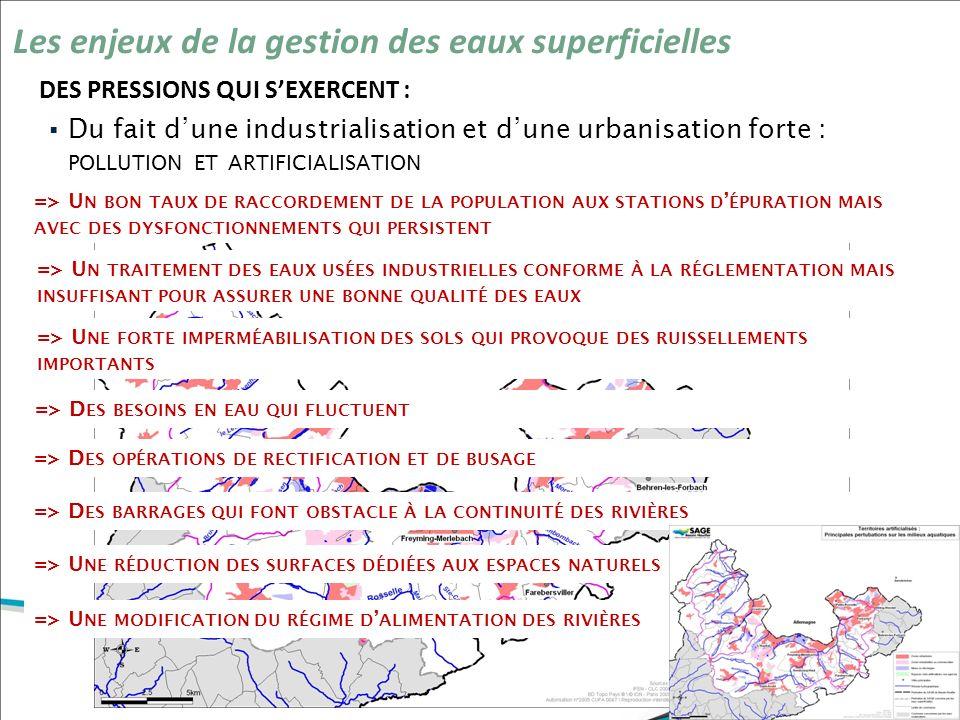 DES PRESSIONS QUI SEXERCENT : Les enjeux de la gestion des eaux superficielles Du fait dune industrialisation et dune urbanisation forte : POLLUTION E