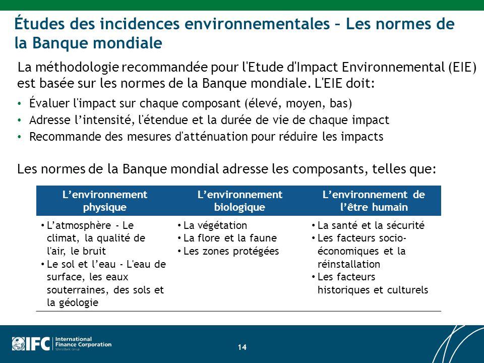 Site Development Impact Assessment Études des incidences environnementales – Les normes de la Banque mondiale La méthodologie recommandée pour l Etude d Impact Environnemental (EIE) est basée sur les normes de la Banque mondiale.