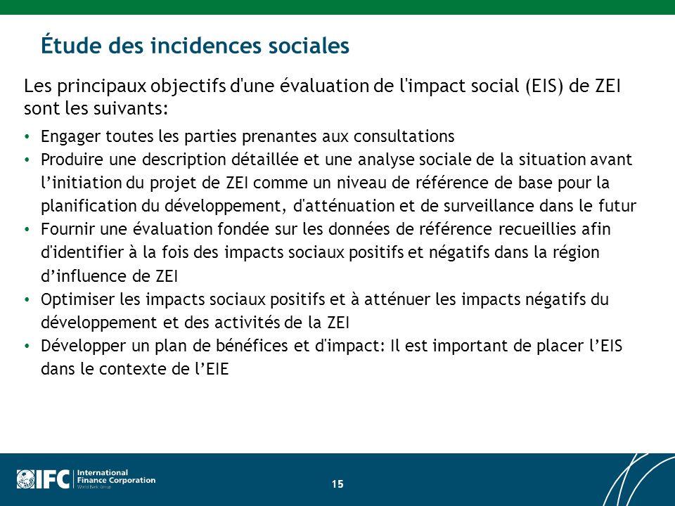 Les principaux objectifs d une évaluation de l impact social (EIS) de ZEI sont les suivants: Engager toutes les parties prenantes aux consultations Produire une description détaillée et une analyse sociale de la situation avant linitiation du projet de ZEI comme un niveau de référence de base pour la planification du développement, d atténuation et de surveillance dans le futur Fournir une évaluation fondée sur les données de référence recueillies afin d identifier à la fois des impacts sociaux positifs et négatifs dans la région dinfluence de ZEI Optimiser les impacts sociaux positifs et à atténuer les impacts négatifs du développement et des activités de la ZEI Développer un plan de bénéfices et d impact: Il est important de placer lEIS dans le contexte de lEIE Évaluation de l impact du site de développement Étude des incidences sociales 15