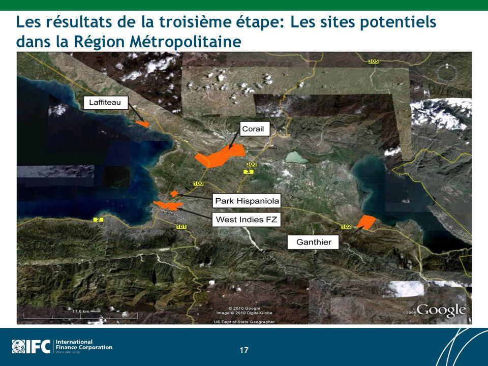 Les résultats de la troisième étape: Les sites potentiels dans la Région Métropolitaine 17