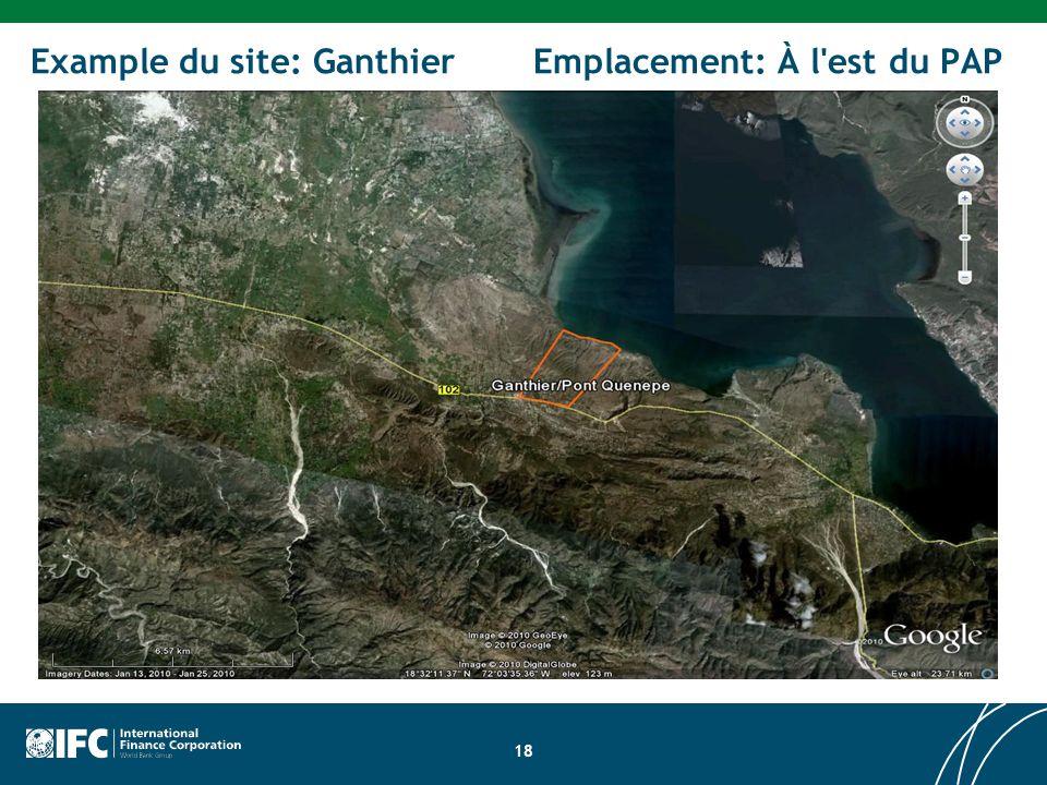 18 Example du site: Ganthier Emplacement: À l est du PAP