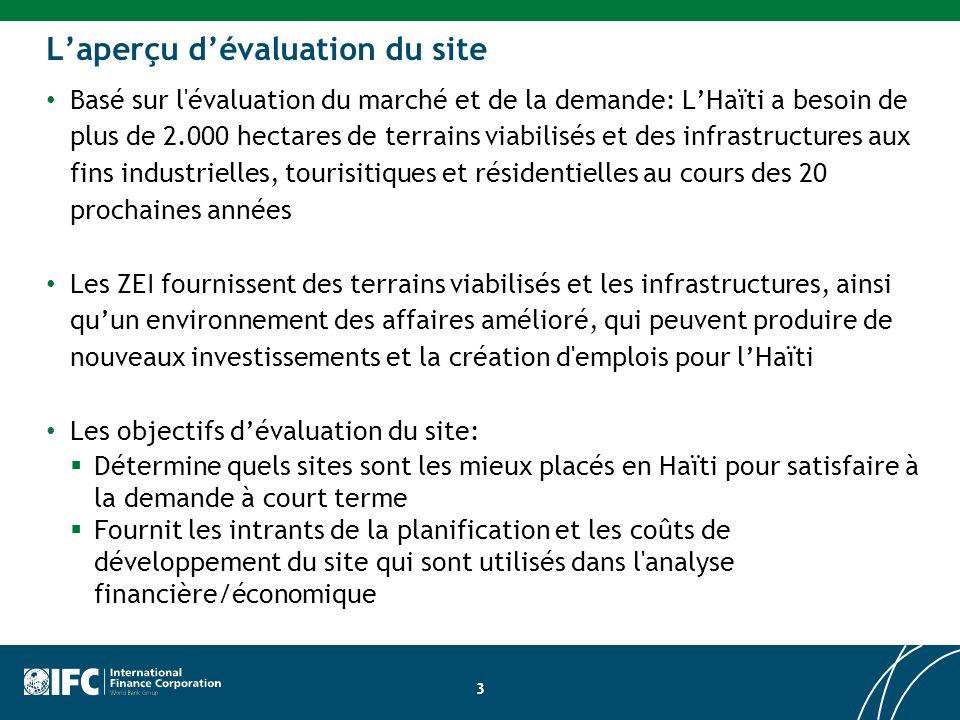 3 Laperçu dévaluation du site Basé sur l évaluation du marché et de la demande: LHaïti a besoin de plus de 2.000 hectares de terrains viabilisés et des infrastructures aux fins industrielles, tourisitiques et résidentielles au cours des 20 prochaines années Les ZEI fournissent des terrains viabilisés et les infrastructures, ainsi quun environnement des affaires amélioré, qui peuvent produire de nouveaux investissements et la création d emplois pour lHaïti Les objectifs dévaluation du site: Détermine quels sites sont les mieux placés en Haïti pour satisfaire à la demande à court terme Fournit les intrants de la planification et les coûts de développement du site qui sont utilisés dans l analyse financière/économique
