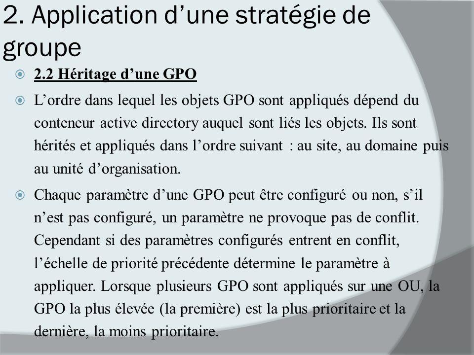 2. Application dune stratégie de groupe 2.2 Héritage dune GPO Lordre dans lequel les objets GPO sont appliqués dépend du conteneur active directory au