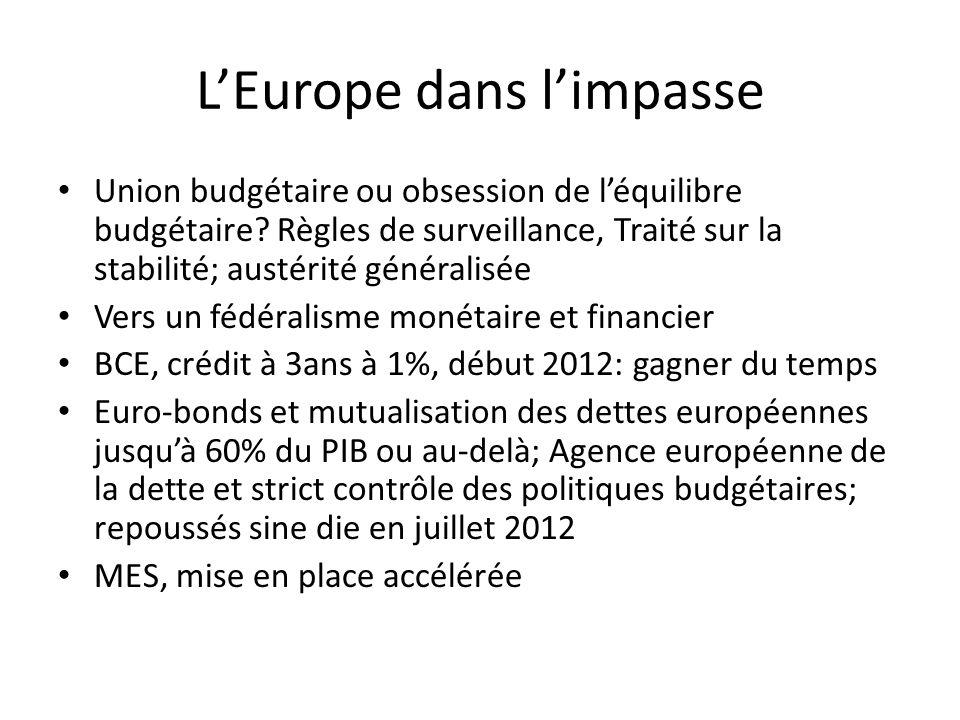 LEurope dans limpasse Union budgétaire ou obsession de léquilibre budgétaire? Règles de surveillance, Traité sur la stabilité; austérité généralisée V