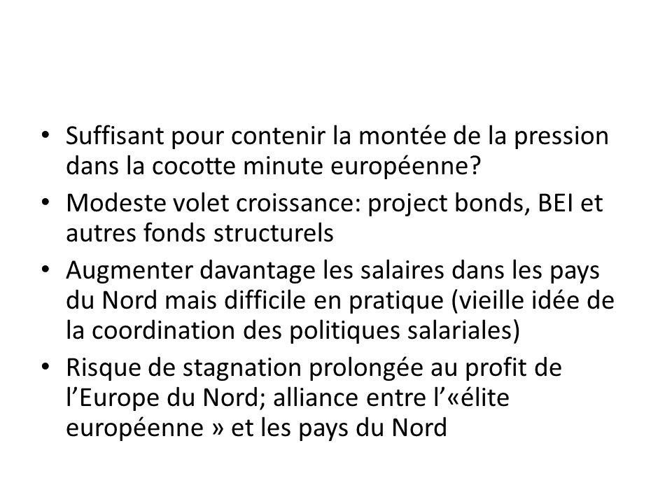 Suffisant pour contenir la montée de la pression dans la cocotte minute européenne? Modeste volet croissance: project bonds, BEI et autres fonds struc