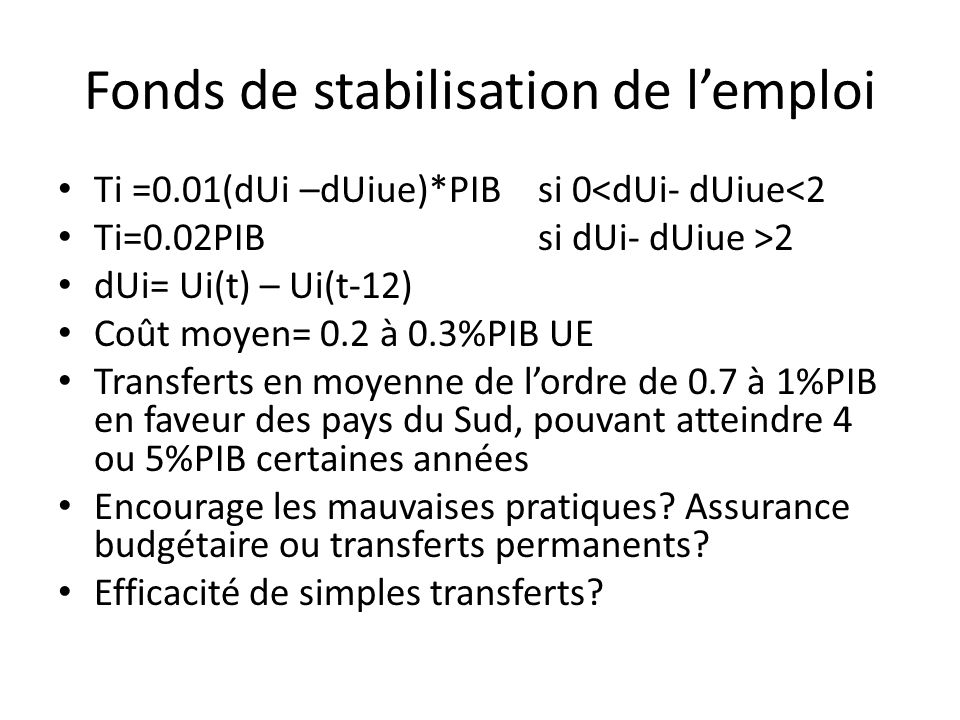 Fonds de stabilisation de lemploi Ti =0.01(dUi –dUiue)*PIB si 0<dUi- dUiue<2 Ti=0.02PIB si dUi- dUiue >2 dUi= Ui(t) – Ui(t-12) Coût moyen= 0.2 à 0.3%P